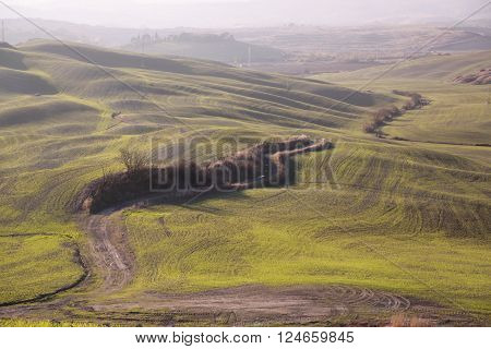 Italian landscape in tuscany with hills and river