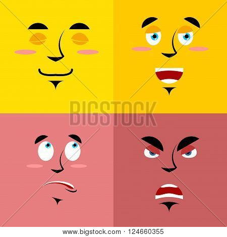 Set Of Cartoon Face With Emotions. Red Evil Character. Yellow Kind Emotion. Surprised Person