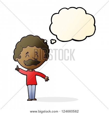 cartoon man with idea with thought bubble