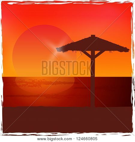 Sunset on the beach. Colorful vector background.