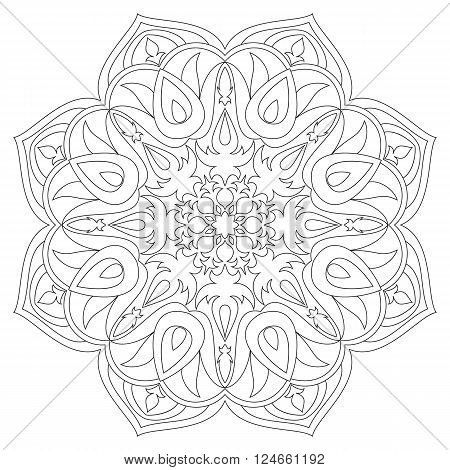 Mandala. Ethnic decorative elements. Hand drawn background. Islam Arabic Indian ottoman motifs.Monochrome mandala symbol. Mandala JPG. Black contour mandala. Traditional mandala. Vector mandala.