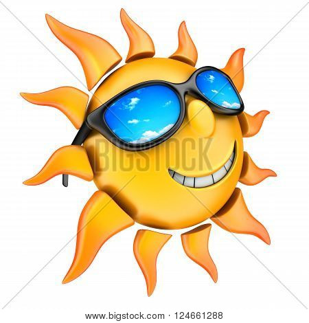 Sun and glasses (done in 3d, isolated)