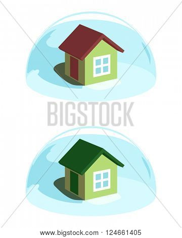 Green house under the blue dome protection. Conceptual ecological vector illustration
