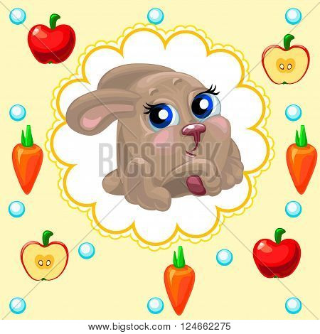 Cute newborn baby bunny on a green background, perfect for decoration objects and children will appreciate the kids