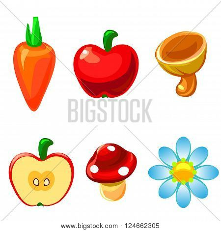 Icons objects summer cartoon carrot, apple, mushroom, flower, camomile.