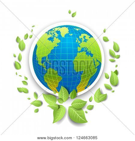 Globe icon for design banner,ticket, leaflet and so on.Template page for Earth day. Holiday card. Green globe and leaves.