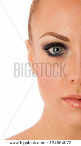 Beauty Portrait Of Woman With Perfect Makeup, Smokey Eyes, Full Lips Thinking About Anti-aging Facia