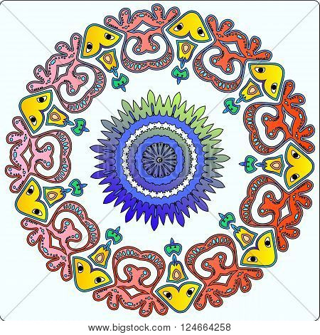 Fairy Pattern Ornament with animas and native elements in  gradient colors on a white background