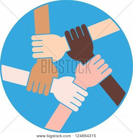 Five hands Holding Each Other as an Interracial Cooperation