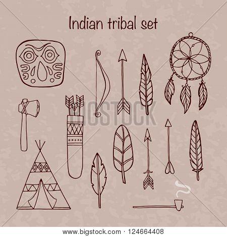 Set of indian tribal elements. Vector illustration