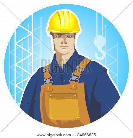 Builder construction worker in protective wear and helmet. Builder icon. Flat design vector illustration
