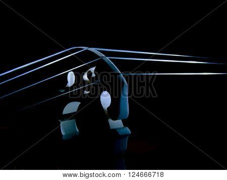 music instrument with string isolated light object