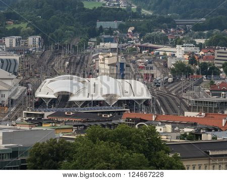 SALZBURG AUSTRIA JUNE 27: A view of train station with passing trains in Salzburg 2015
