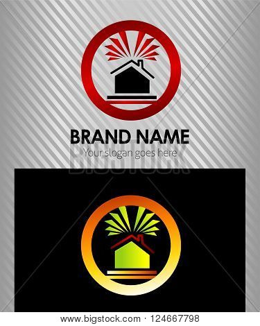 Real Estate Vector Icons, Logos, Sign, Symbol Template with rays