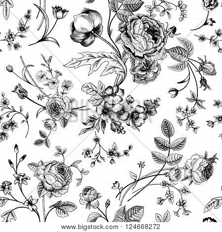 Seamless vector vintage pattern with Victorian bouquet of black flowers on a white background. Garden roses tulips delphinium petunia. Monochrome.