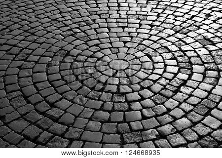 black and white paving - patterned paving tiles
