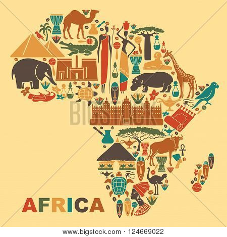 Symbols of nature culture and architecture of Africa in the form of a map