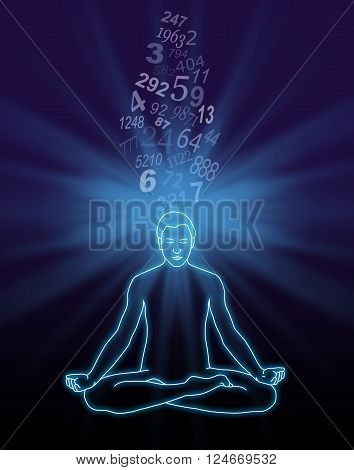 Number Streaming Meditation - outline diagram of a male in lotus position with a blue light burst behind his head and a stream of random numbers flowing down into the crown chakra on a dark background