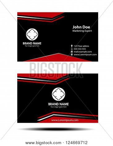 Red black two sided business card vector design template