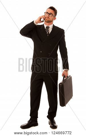 Successful Businessman In Formal Suit And Briefcase, Suitcase Confidently Standing Isolated.