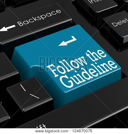 Follow the Guidelines Concept. Blue Keyboard Button. Selective Focus. Closeup View. , 3D rendering