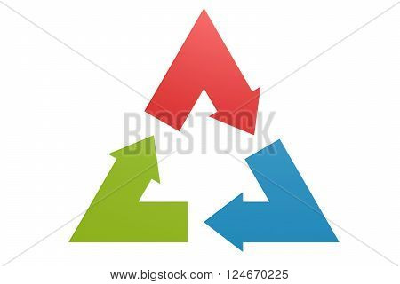 Triangle arrow image, 3D rendering, Flow chart