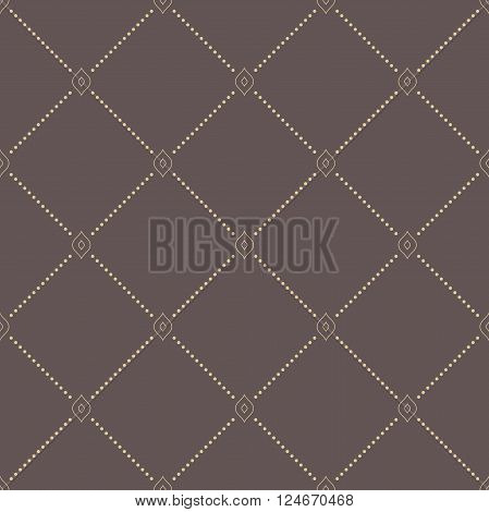 Geometric repeating ornament with diagonal dotted lines. Seamless abstract modern brown and golden pattern