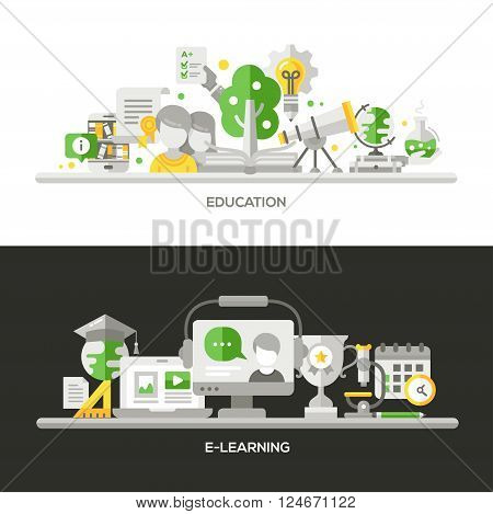 Online Education, E-Learning concepts compositions set. Vector modern line flat design infographics elements and webdesign banners, headers.