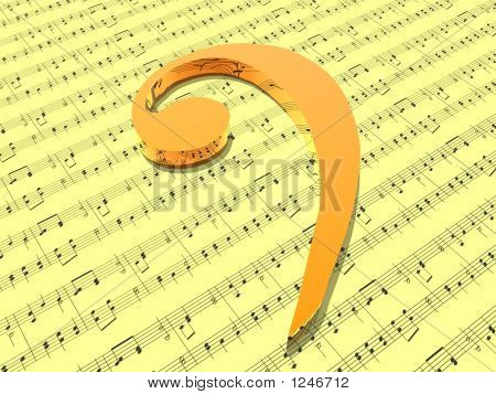 Bass Clef On Sheet Of Yellow Printed Music