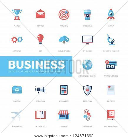 Set pf modern vector business infographics flat design icons, web design elements. Mission, targeting, cloud, international, protection, e-commerce, accounting, shopping, coffee break