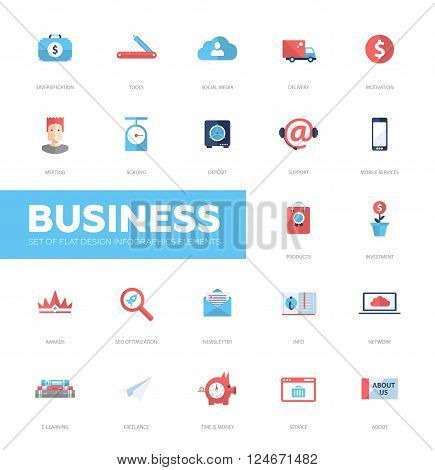 Set pf modern vector business infographics flat design icons, web design elements. Support, social media, diversification, seo, info, service, e-learning, motivation, investment