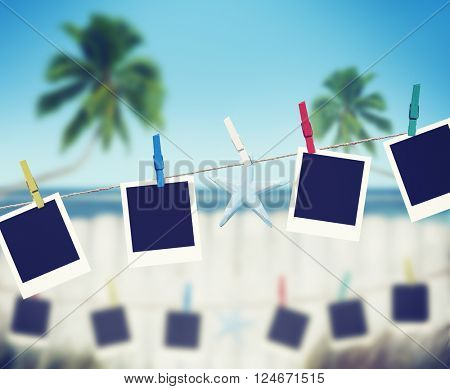 Hanging Peg Photo Picture Coconut Tree Sea Concept