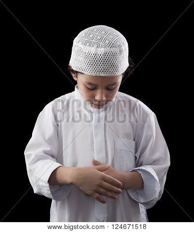 Little Young Muslim Boy Praying