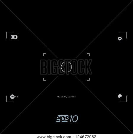 Focus in Viewfinder Screen of Camera Vector Template