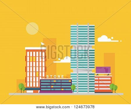 Urban flat cityscape with trees, isolated cityscape with downtown houses, commercial buildings and skyscrapers.