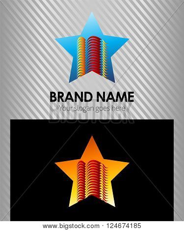 Tower logo with star icon vector design template