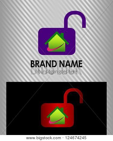 Unlock and house logo vector design template