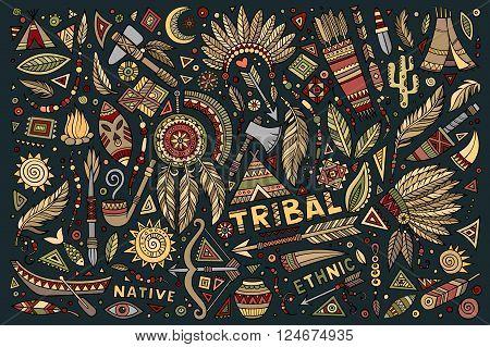 Tribal abstract native ethnic American set of symbols