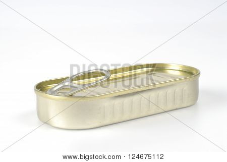 Can of anchovies on white background, metal