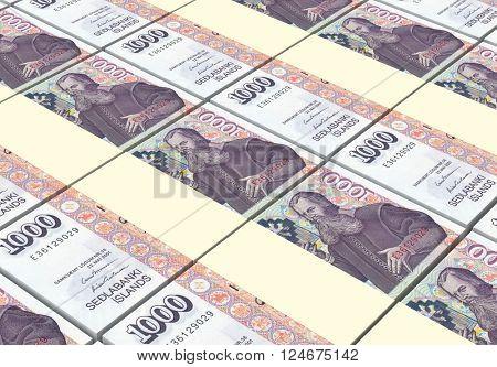 Icelandic kronas bills stacks background. 3D illustration