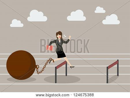 Business woman jumping over hurdle with the weight. Business concept