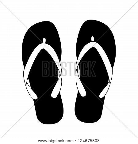 black flip flops isolated on white background. vector illustration
