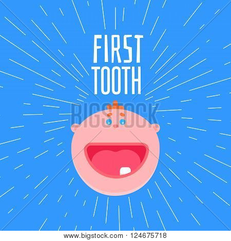 Adorable 6 months old baby laughing. First tooth greetings card with typography and baby flat style face. One kids tooth funny banner with design elements. Smile baby boy face at blue background