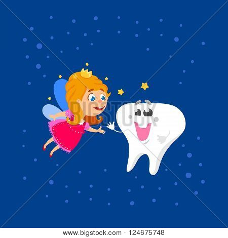 Cute hand drawn greeting card for Tooth Fairy Day as funny smiling cartoon character of tooth fairy with crown, wings and big kids tooth with smile. First tooth greetings card. Vector illustration