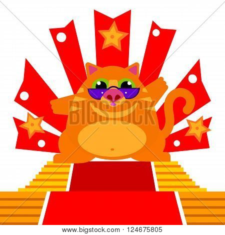 Vector flat character illustration. Dancing cat with modern glasses. Cat artist, actor, super star. Flat graphics design of cat dance. Kitty concert idea. Party character.