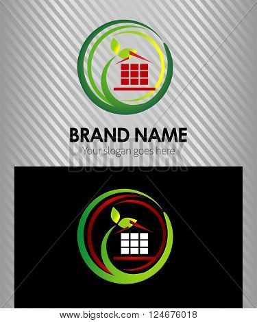Vector eco house corporate logo Isolated vector design template