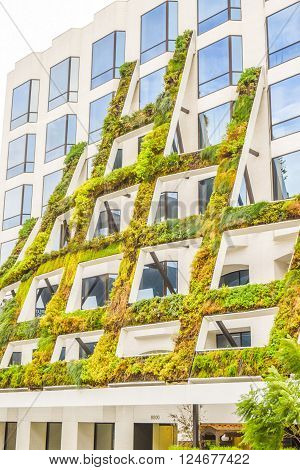 West Sunset Boulevard,Los Angeles, California 01.16.2016: IAC Brings California native plants grace the scuptural facade of 8800 West Sunset Boulevard in West Hollywood