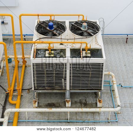 Top view of Industrial cooling towers on rooftop