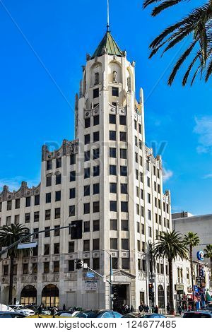 USA, California, Los Angeles, Hollywood, 29 Janua 2015 - The Hollywood Museum on Highland Avenue in the historic Max Factor Building and Hollywood First National Bank building by Meyer Holler architects