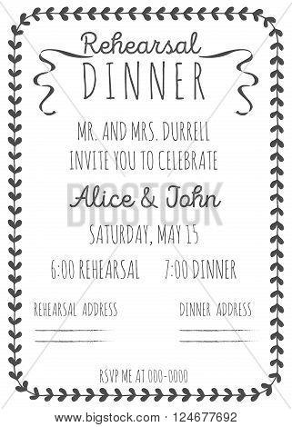 Vintage Wedding Invitation. Rehearsal dinner invitation template. Hand-drawn graphics.